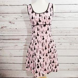 Pink aline style dress proper ladies silhouette